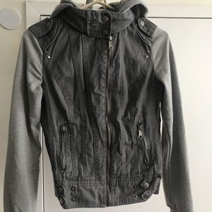 Gray hooded zip up jacket size S